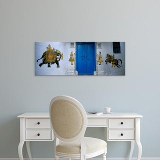 Easy Art Prints Panoramic Images's 'Mural on a wall, Rajasthan, India' Premium Canvas Art