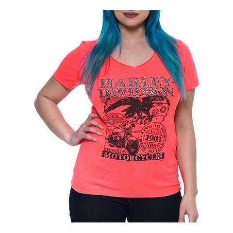 Harley-Davidson Women's Postage Rhinestone Notched V-Neck Tee, Fiery Pink