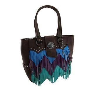 Blue Purple and Green Chevron Fringe Studded Brown Shoulder Bag