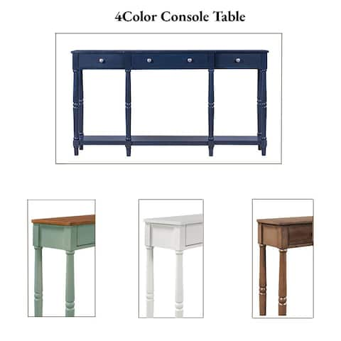 Solid Wood Classic Entryway Table with Storage Shelf and Drawer
