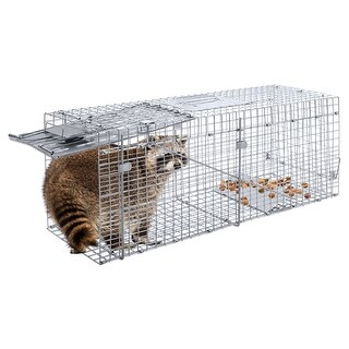 "32"" Live Animal Cage Mouse Trap Rat Hamster Catch Control Bait Hunting Survival - Sliver"