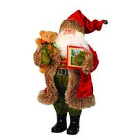 "15"" Rustic Faux Fur Trimmed Santa Claus Story Time Christmas Figure with Teddy Bear - RED"