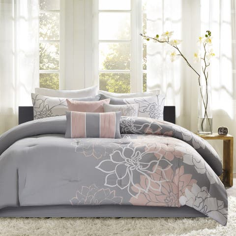 Madison Park Brianna Grey/ Blush Cotton Sateen Printed Comforter Set