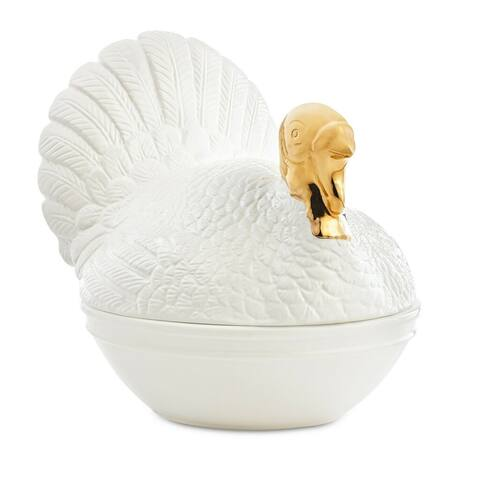 Martha Stewart Collection Turkey Covered Vegetable Bowl White - 10""