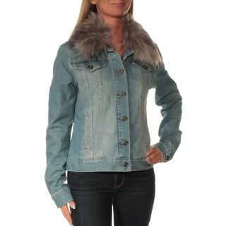 TOMMY HILFIGER $129 Womens New 1568 Blue Faux Fur Denim Casual Jacket S B+B