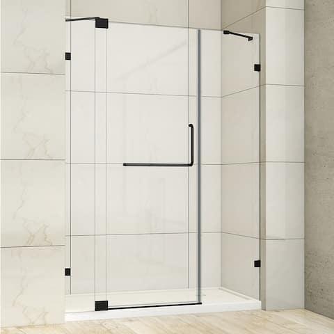 "Milano 60"" W x 72"" H Hinged Frameless Tub Door in Matt Black - 60"" W x 72"" H"