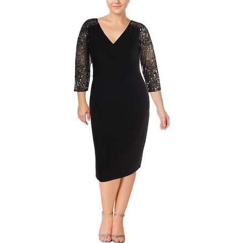 Adrianna Papell Womens Cocktail Dress 3/4 Sleeves Knee-Length