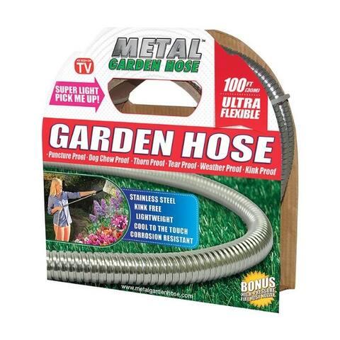 Metal Garden Hose As Seen On TV Stainless Steel Garden Hose - 8.65 x 9.8 x 9.9