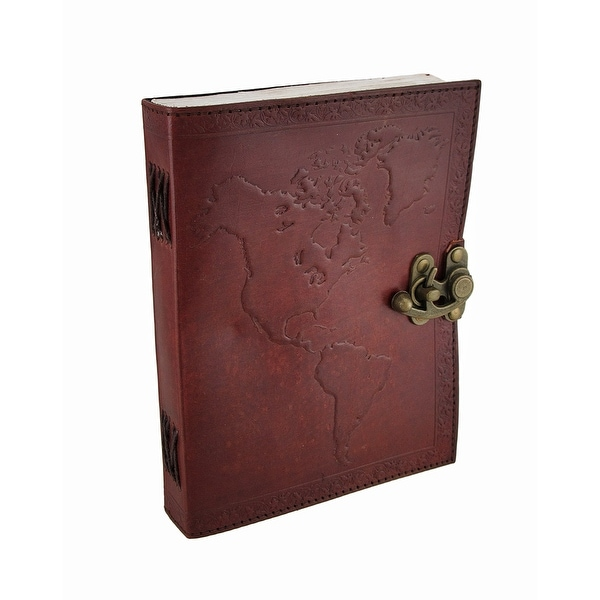 Embossed Leather World Map Journal w/Swing Clasp - brown