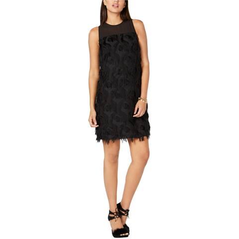 Michael Kors Womens Feather Shift Dress, black, 6