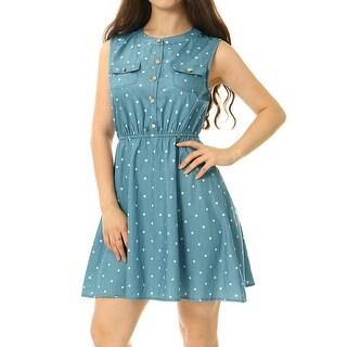 Women Sleeveless Polka Dots Elastic Waist Denim Shirt Dress Blue XS - Light Blue