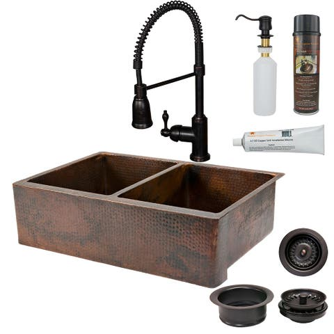 Premier Copper Products KSP4_KA50DB33229 Kitchen Sink, Spring Faucet and Accessories Package