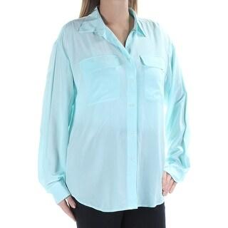RALPH LAUREN $155 Womens New 1035 Aqua Collared Cuffed Button Up Top L B+B