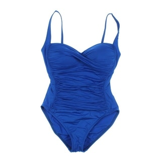 La Blanca Womens Shirred Twist Front One-Piece Swimsuit - 12