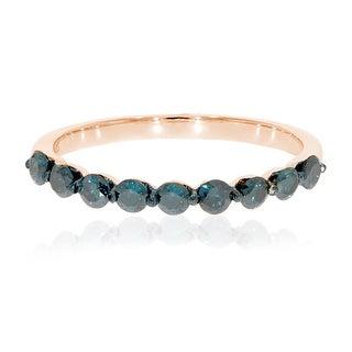 Prism Jewel 2.40MM 0.54Ct Round Brilliant Cut Blue Diamond Wedding Band