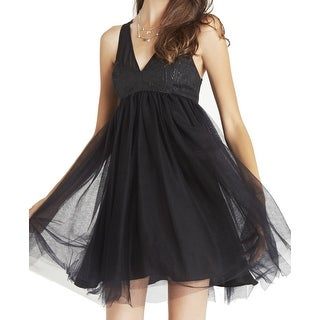 BCBG Generation NEW Black Women 6 V-Neck Empire Waist Tulle Dress