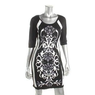 Sangria Womens Petites Wear to Work Dress Knit Printed - pl
