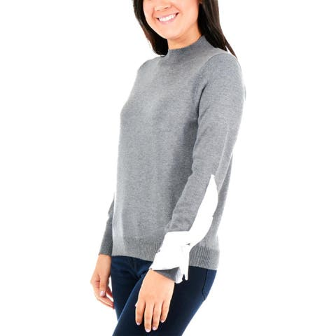 NY Collection Womens Petites Sweatshirt Heather Mock Neck - PM