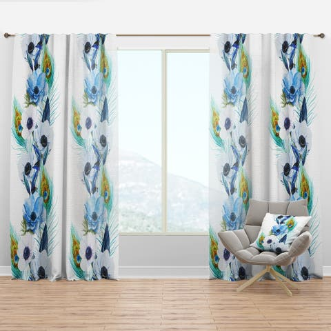 Designart 'Handpainted Anemones And Peacock Feathers' Floral Curtain Panel