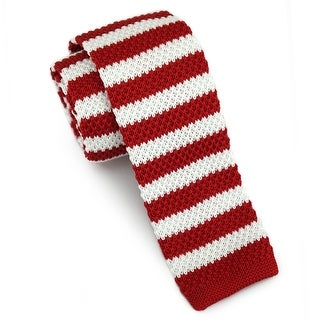 "Men's 2"" Knit Stripped Red and White Tie"