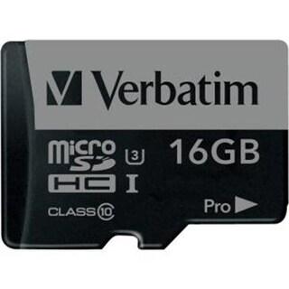 Verbatim VER47040 Pro Micro SDHC Memory Card with Adapter, U3 16GB