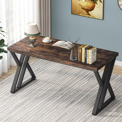 """Tribesigns 55"""" Computer Desk, Heavy Duty Writing Desk with Extra Thicken Desktop & Stylish Metal Leg, Rustic Brown"""