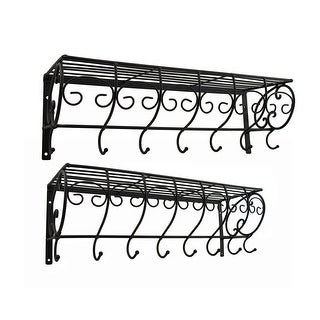 Set of 2 Decorative Metal Wire Wall Hook Shelves