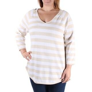 JEANNE PIERRE Womens New 1234 Beige Striped V Neck Sweater M B+B