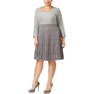 Calvin Klein Womens Plus Sweaterdress Metallic Knee-Length