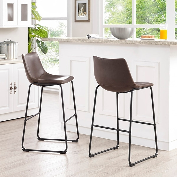 Carbon Loft Prusiner Faux Leather Bar Stool (Set of 2). Opens flyout.