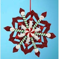"5.25"" Peppermint Twist Red Stripe Glittered Candy Snowflake Christmas Ornament"
