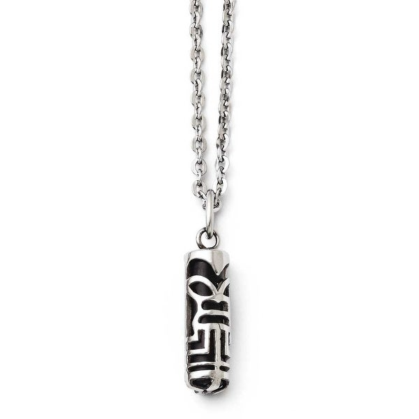 Chisel Stainless Steel Tiki Pendant Necklace (2 mm) - 20 in