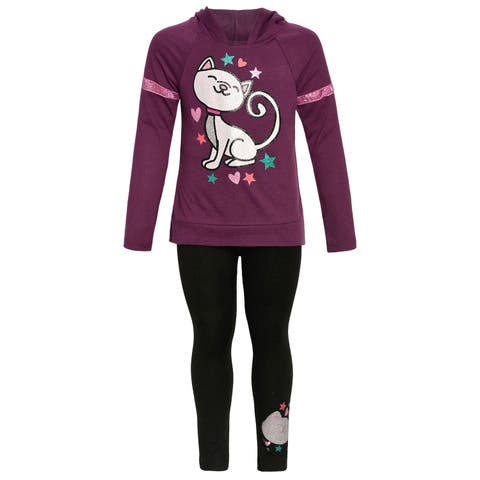 Girls Burgundy Cat Print Hooded Long Sleeve 2 Pc Legging Outfit