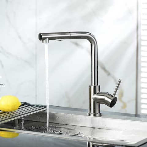 Brushed Nickel Kitchen Sink Faucet with Single Handle