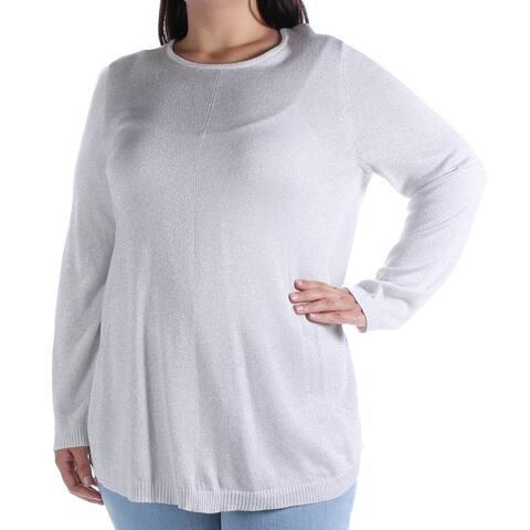 ALFANI Womens Silver Glitter Long Sleeve Jewel Neck Top Size XL