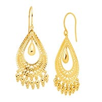 Eternity Gold Teardrop Fringe Drop Earrings in 10K Gold