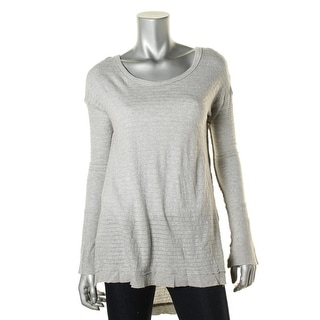R & R Surplus Womens Drop Tail Modal Blend Metallic Striped Tunic Top
