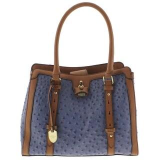London Fog Womens Satchel Handbag Textured Leather - denim ostrich - MEDIUM