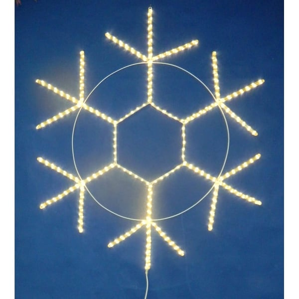 Christmas at Winterland LED-SNOWF48-WW 48 Inch Warm White LED Rope Light Snowflake Indoor / Outdoor - Warm White - N/A