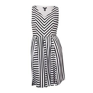 Alfani Women's V-Neck Striped Flared Jersey Dress - White/Black