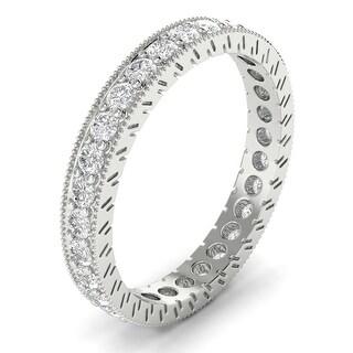 14KT Gold Round Cut Diamond Curved Wedding Ring 1.00 CTW