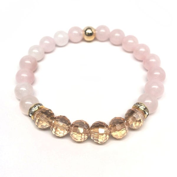Rose Quartz & Champagne Crystal 'Glow' stretch bracelet 14k Over Sterling Silver