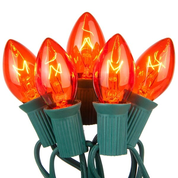 Wintergreen Lighting 67237 25 C7 5W Bulbs on Green Wire - Amber - N/A