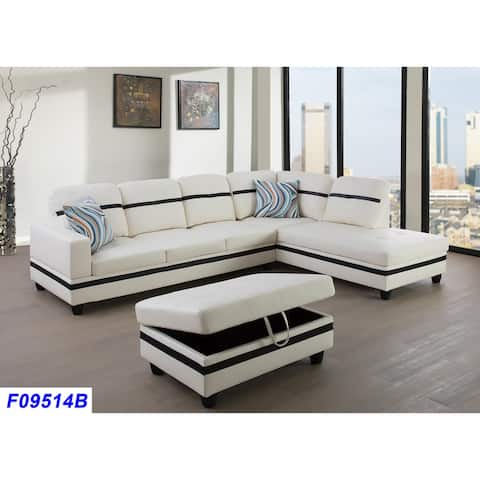 3-Pieces Sectional Sofa Set,Right Facing White(09514B)