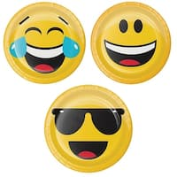 "Club Pack of 96 Yellow and Black Assorted ""Show Your Emojis"" Themed Luncheon Plates 6.8"""