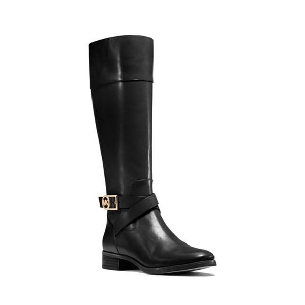 MICHAEL Michael Kors Womens Bryce Leather Almond Toe Mid-Calf Riding Boots