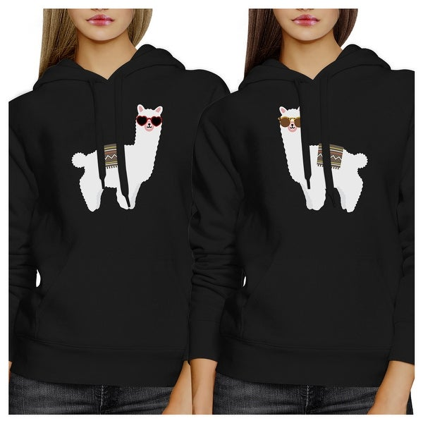 1ee11f6827fd Shop Llamas Sunglasses Unisex Black Matching Hoodies Pullover Fleece ...