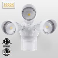 30W 3-Head Motion Activated LED Outdoor Security Light, 3000K, White