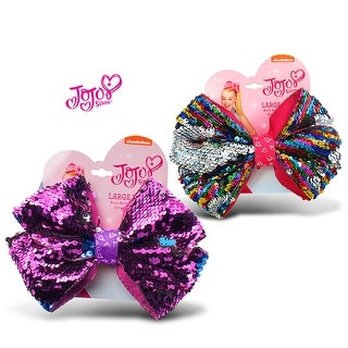 "Jojo Siwa Purple Sequin Ponytail Bow & Rainbow Sequin Ponytail Bow On Elastic Hair Band 7""x5"" (2 Items)"