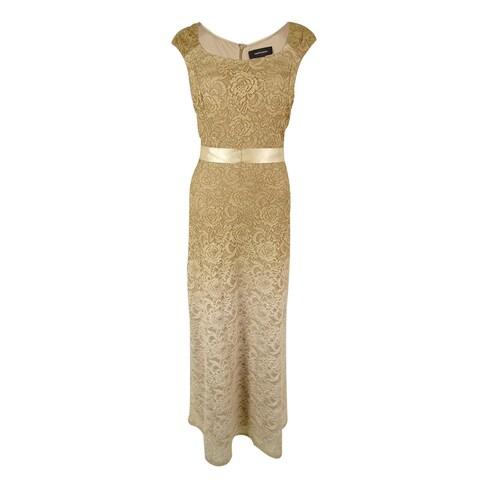 R&M Richards Women's Ombre Lace Maxi Dress - Gold